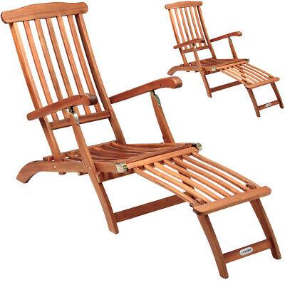 2x Holzliege Deckchair Sonnenliege Liegestuhl Liege Gartenliege Holz Gartenmöbel