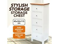 Tall Chest of Drawers 45x32x115 cm Solid Oak Wood-247051