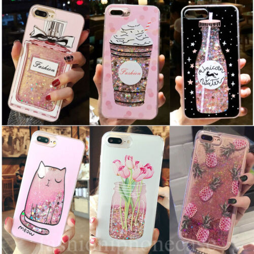 Lovely Cute Bling Dynamic Liquid Glitter Soft Case Cover for iPhone 11 XR 8 Plus