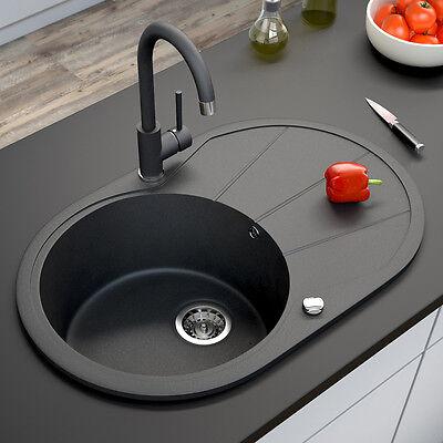 Granit Spüle Küchenspüle Einbauspüle Spülbecken+Drehexcenter+Siphon Schwarz