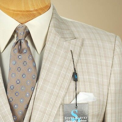 48L Steve Harvey 3 Piece Beige Plaid Suit   48 Long   Sb17
