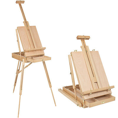 (French Tripod Easel Folding Durable Wooden Sketch Box Portable Art Craft Painter)