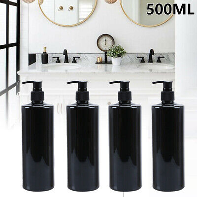 4Stück 500ml Seifenspender Leere Flasche Pumpe Kunststoff Flüssiges Bad Shampoo