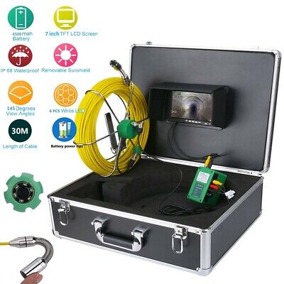 7 30m 17mm 1000 Tvl Drain Pipe Sewer Inspection Video Camera System Waterproof