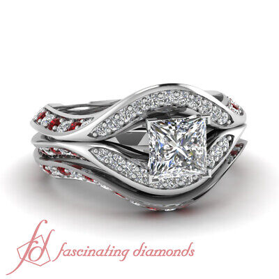1.50 Carat White Gold Princess Diamond And Red Ruby Halo Pave Wedding Rings Set - Red And Gold Wedding