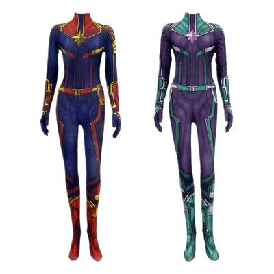 Frau Marvel Captain Marvel Carol Cosplay Kostüm Overall Bodysuit Halloween Neu