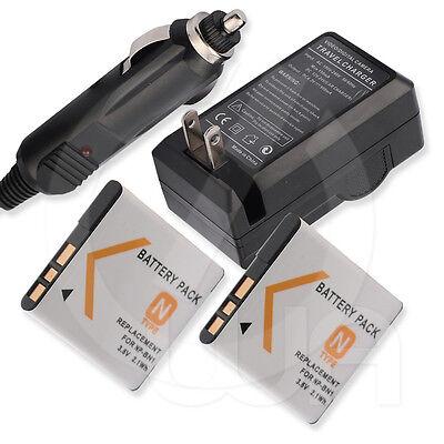 2 Battery+charger For Sony Cyber-shot Dsc-j10 J10l J10d J...