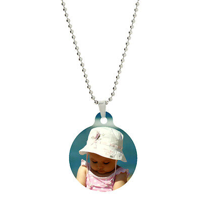 Double Side Color Custom Personalized Photo Large Circle Dog Tag Picture Pendant
