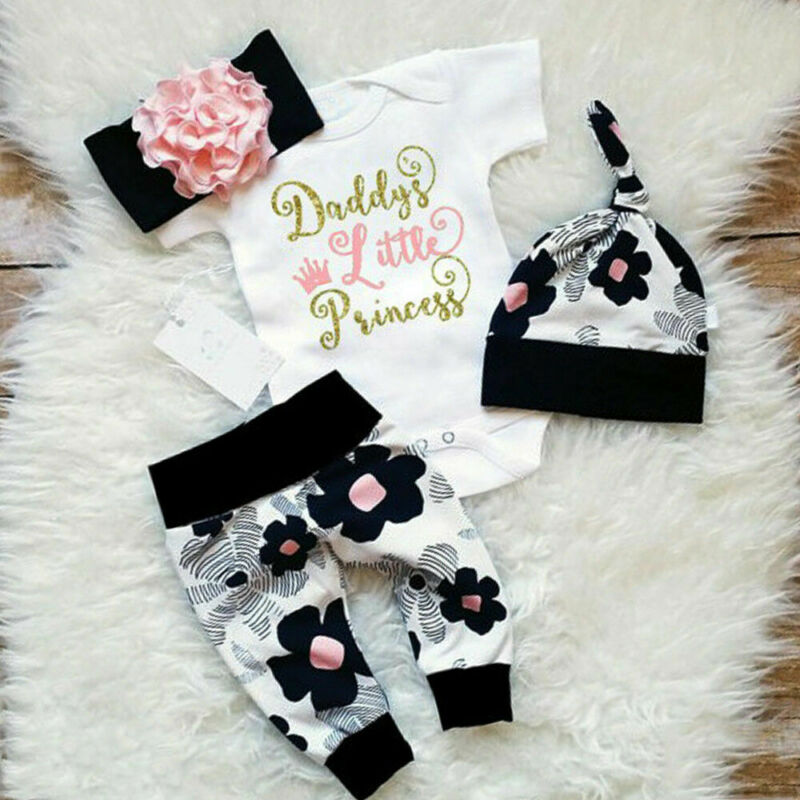 4PCS Newborn Baby Girl Kid Tops Romper Floral Pants Headband Outfits Set Clothes