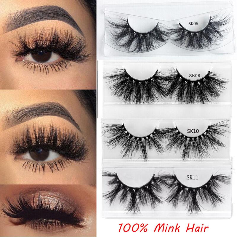 SKONHED 1Pair 25MM Lashes 3D 100% Mink Hair False Eyelashes