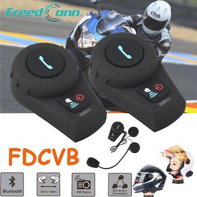 2X 500M Bluetooth Interphone Motorbike Motorcycle Helmet Intercom + Boom Headset