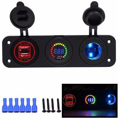 3 way car USB 12v meter & cigarette lighter dash fitting sockets latest design  ()
