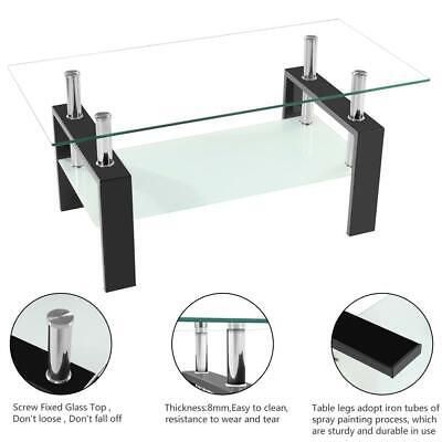 Hot Glass Coffee Table Rectangular Shelf Top Kitchen Frame Breakfast Furniture