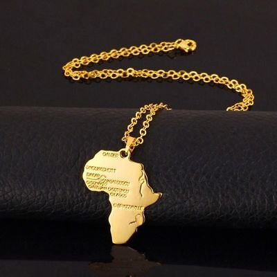 Men Chain Africa Jewelry Fashion Gold Pendant African Map Necklace