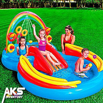 Inflatable Water Slide Kiddie Pool Sprayer Rings Swimming Fun Summer Kids Toys