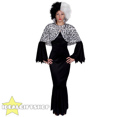 WOMENS EVIL DOG LADY FANCY DRESS COSTUME DALMATIAN DRESS WITH CAPE AND CURLY WIG