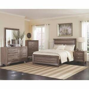 Elegance Style, Rustic Taupe Finish 5 Pc Queen Bedroom Set