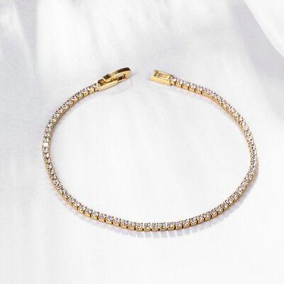 """White Gold Plated Gold Overlay Ross Simons Sparkling CZ Tennis Bracelet 7"""""""