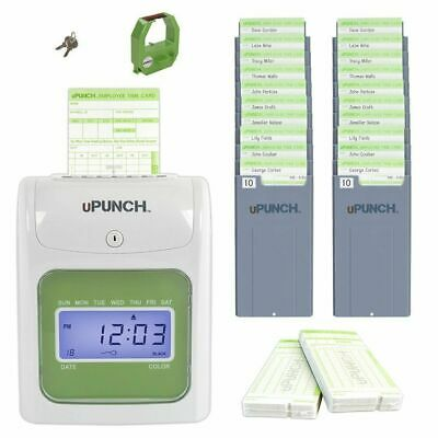 Electronic Punch Clock - Time Clock System Payroll Employee Machine Punch In Plus Card Electronic Office