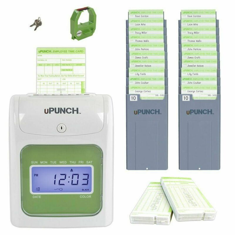 Time Clock System Payroll Employee Machine Punch In Plus Card Electronic Office