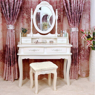 - White Vanity Makeup Dressing Table Set w/Stool 4 Drawer&Mirror Jewelry Wood Desk