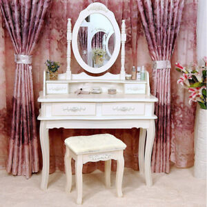 Beau White Vanity Makeup Dressing Table Set W/Stool 4 Draweru0026Mirror Jewelry Wood  Desk