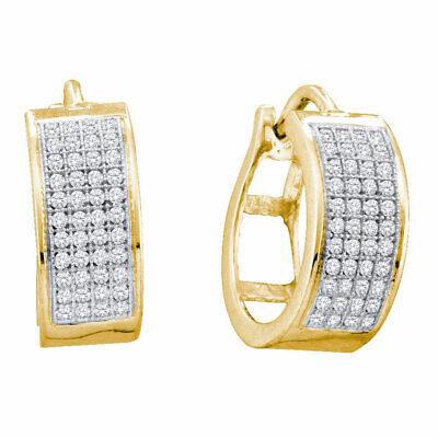 Yellow-tone Sterling Silver Womens Round Diamond Huggie Fashion Earrings 1/4 Ctw Fashionable Diamond Huggie Earrings