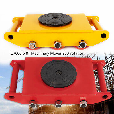 8t 17600lb Machinery Mover Roller Dolly Skate W360 Swivel Top Plate Free Ship