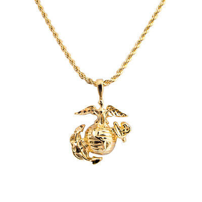 """20"""" Rope Chain With USMC Marine Corp Corps Pendant Necklace - LIFETIME WARRANTY"""