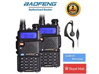 2PCS BAOFENG UV-5R Black Dual Band 136-174/400-520MHz Radio + UV-5R Earpiece UK