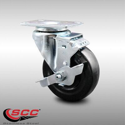 Ss Hard Rubber Swivel Top Plate Caster W4 Wheel Brake