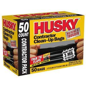 HUSKY 42 Gallon Heavy Duty Construction Garbage Trash Contractor Bags (50-Count)