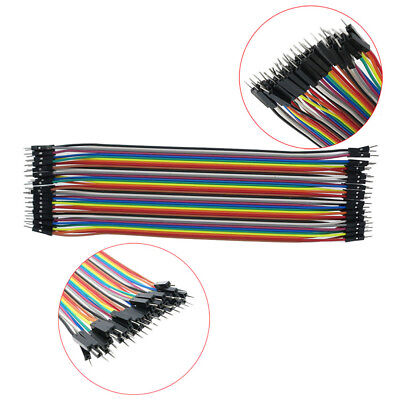40x 10cm 2.54mm Male To Male Dupont Wire Jumper Color Ribbon Cable Breadboard