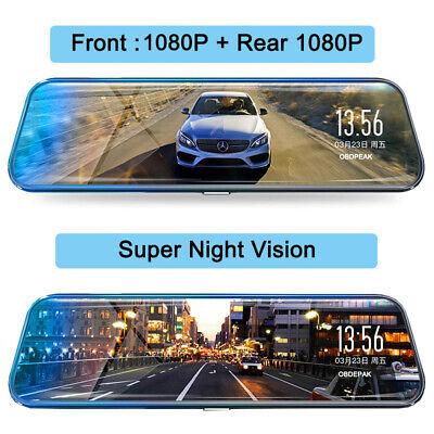 "10"" HD 1080P Dual Lens Car DVR Dash Cam Video Camera Recorder Rearview Mirror US"