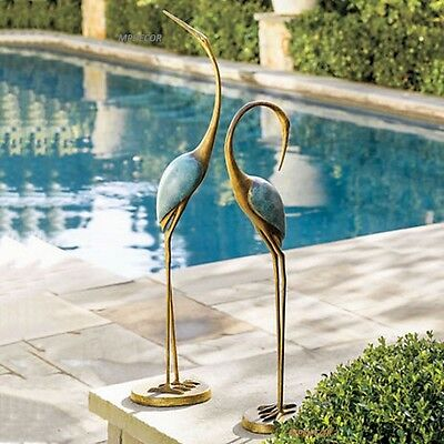 Stylized Crane Garden Pair Statue Contemporary Heron Bird Statue Indoor Outdoor