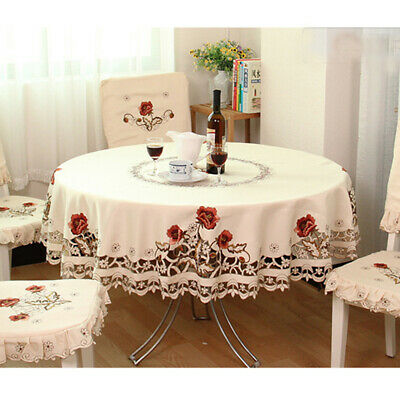 White Round Tablecloths (White Embroidered Tablecloth Floral Lace Round Table Cover Dining Banquet)