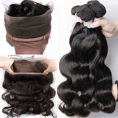 100% Pre Plucked 360 Full Lace Frontal Closure Virgin Human Hair 300g (Pre Plucked 360 Lace Frontal With Bundles)