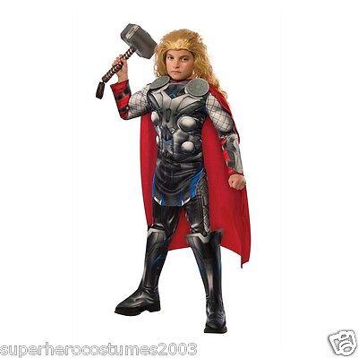 Avengers Age Of Ultron Thor Deluxe Muskel Kostüm Umfasst Hammer 8-10 BOX620463