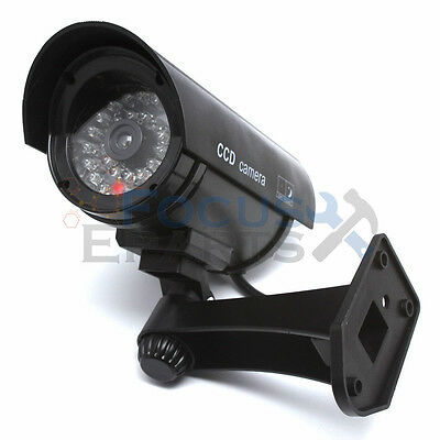 Bullet IR Dummy Fake Security CCTV Surveillance Camera LED Sensor Light Black