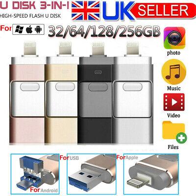 256GB USB Flash Drive Memory Photo Stick U Disk OTG For iPhone iPad PC Android