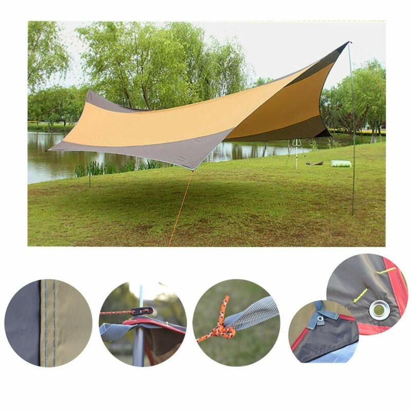 Oxford Khaki Camping Tarp Shelter Sun Shade Awning Canopy Sandbag  5-8 Persons