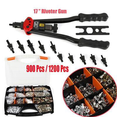 900Pcs/Box Riveter Gun Stainless Steel Rivet Nuts Insert Tool Mandrel Kit M3-M12
