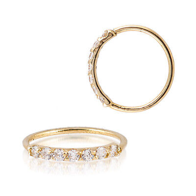 - Sterling Silver 925 Gold Plated 7 CZ Accent Hoop Helix Tragus Nose Ring 20G