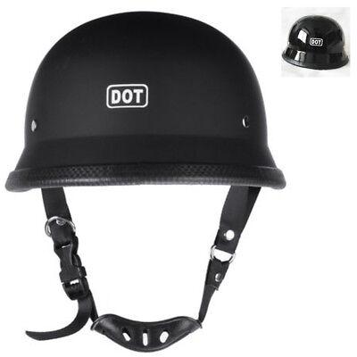 Matte Black German Half Face Helmet DOT Motorcycle Chopper Cruiser Biker M/L/XL