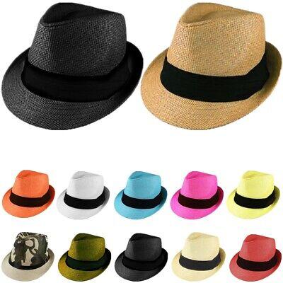 Gelante Summer Sun Trilby Fedora Panama Straw Hats Cap With Band (SHIP IN - Straw Sun Hats