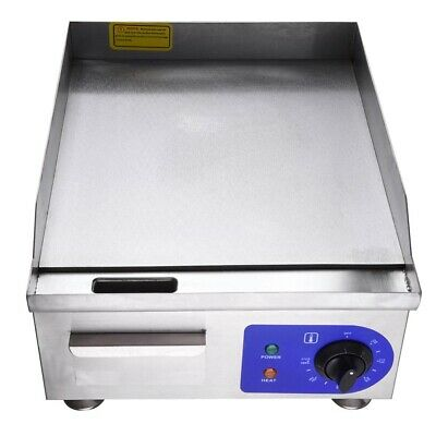 Commercial Electric Griddle Countertop Hotplate Stainless Steel 38x36cm Kitchen