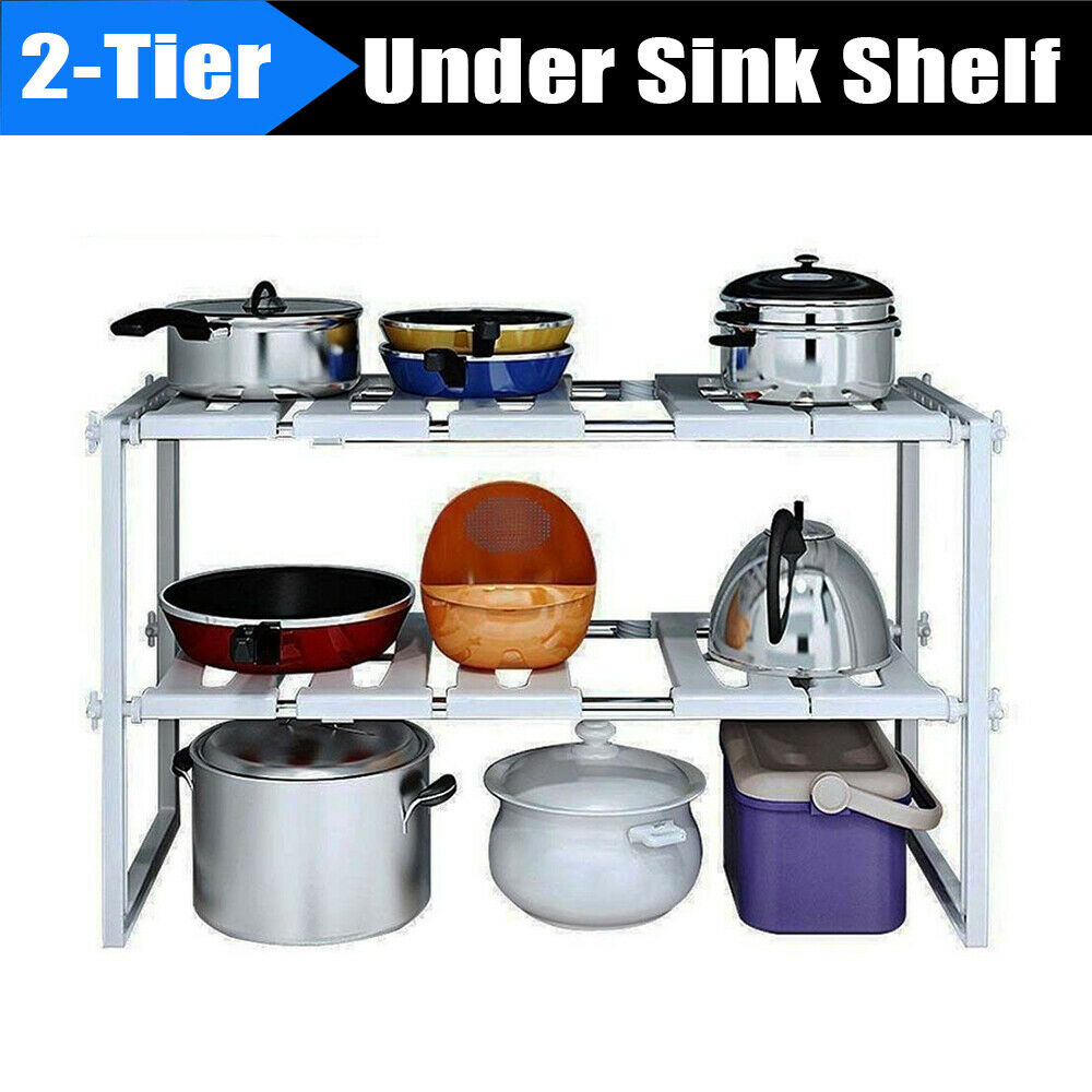 2 Tier Under Sink Organizer Cabinet Storage Rack Expandable Kitchen Bath Shelf