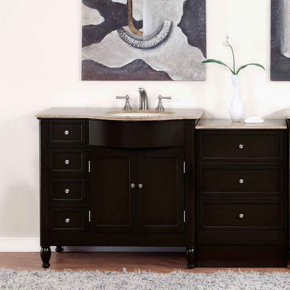 58 Travertine Top Single Bathroom Vanity Sink On The Right Hand