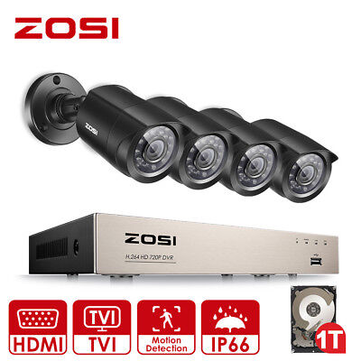 ZOSI 8CH 1080N DVR 720P CCTV Home Security Camera System Surveillance 1TB HD Kit