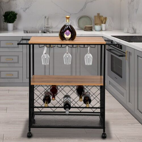 Metal Rolling Kitchen Utility Serving Bar Cart Mirror Shelves Trolley